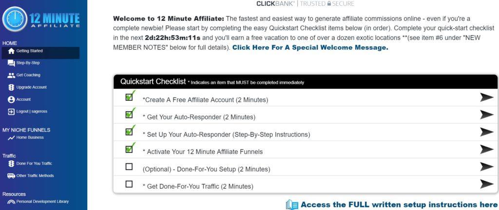 12 minute affiliate members area 1