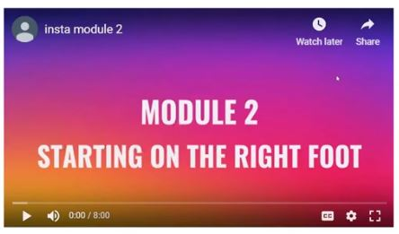 Module 2 Starting on the right foot