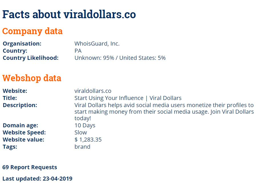 Whois of Viral Dollars