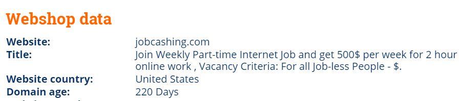 domain age of jobcashing