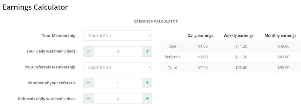 earnings calculator demo