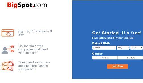 Bigspot registration page
