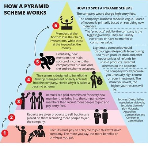 How to spot a pyramid scheme infographics