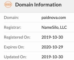 Paid Nova Review domain information