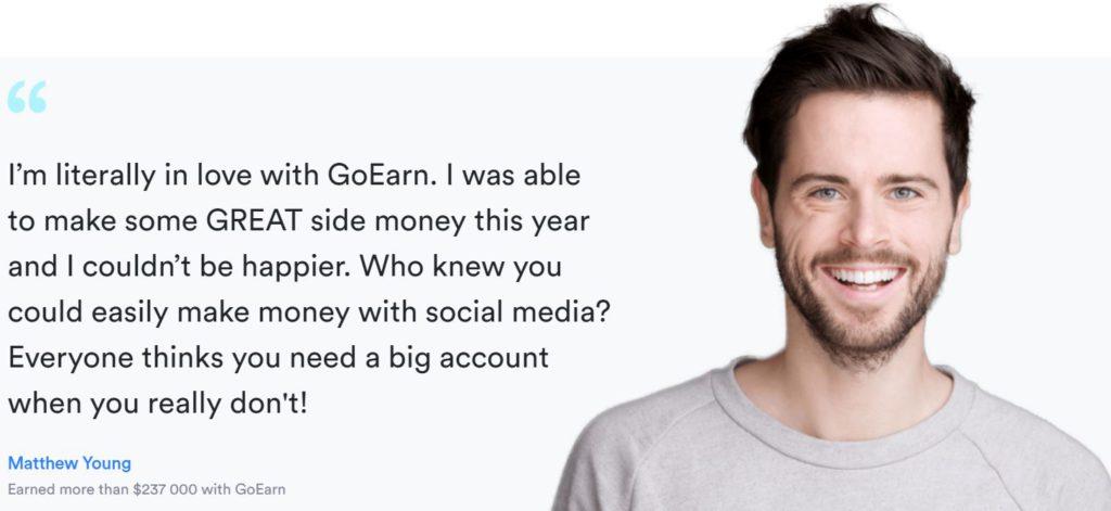 Goearn fake testimonial